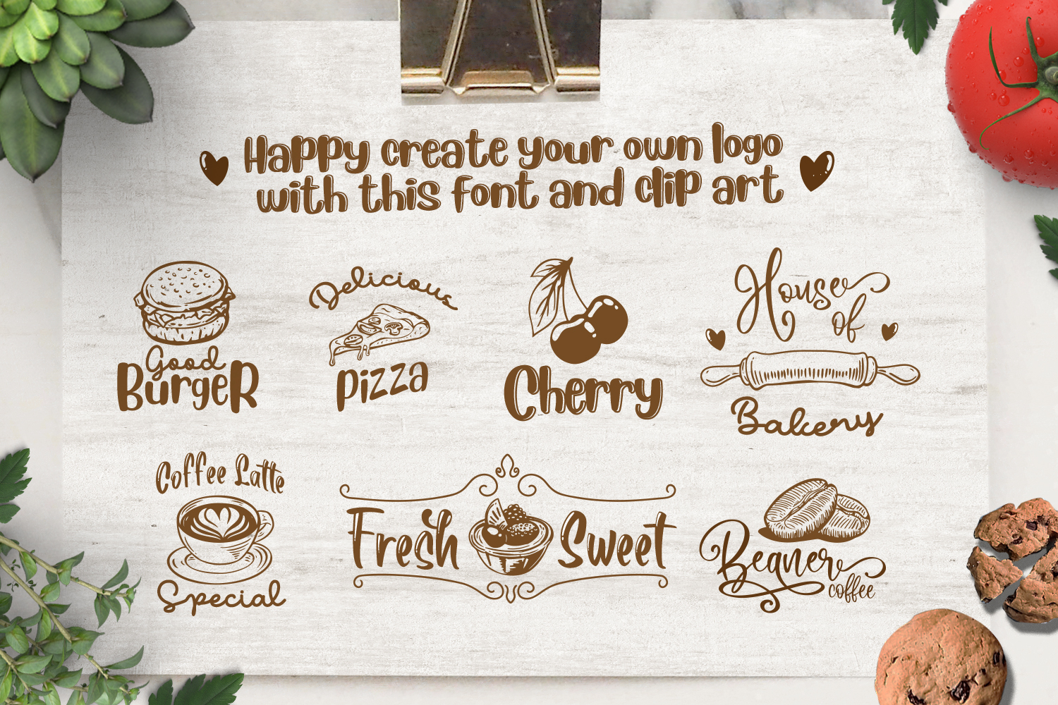 The Beaner - 5 Font & 41 Clipart example image 5
