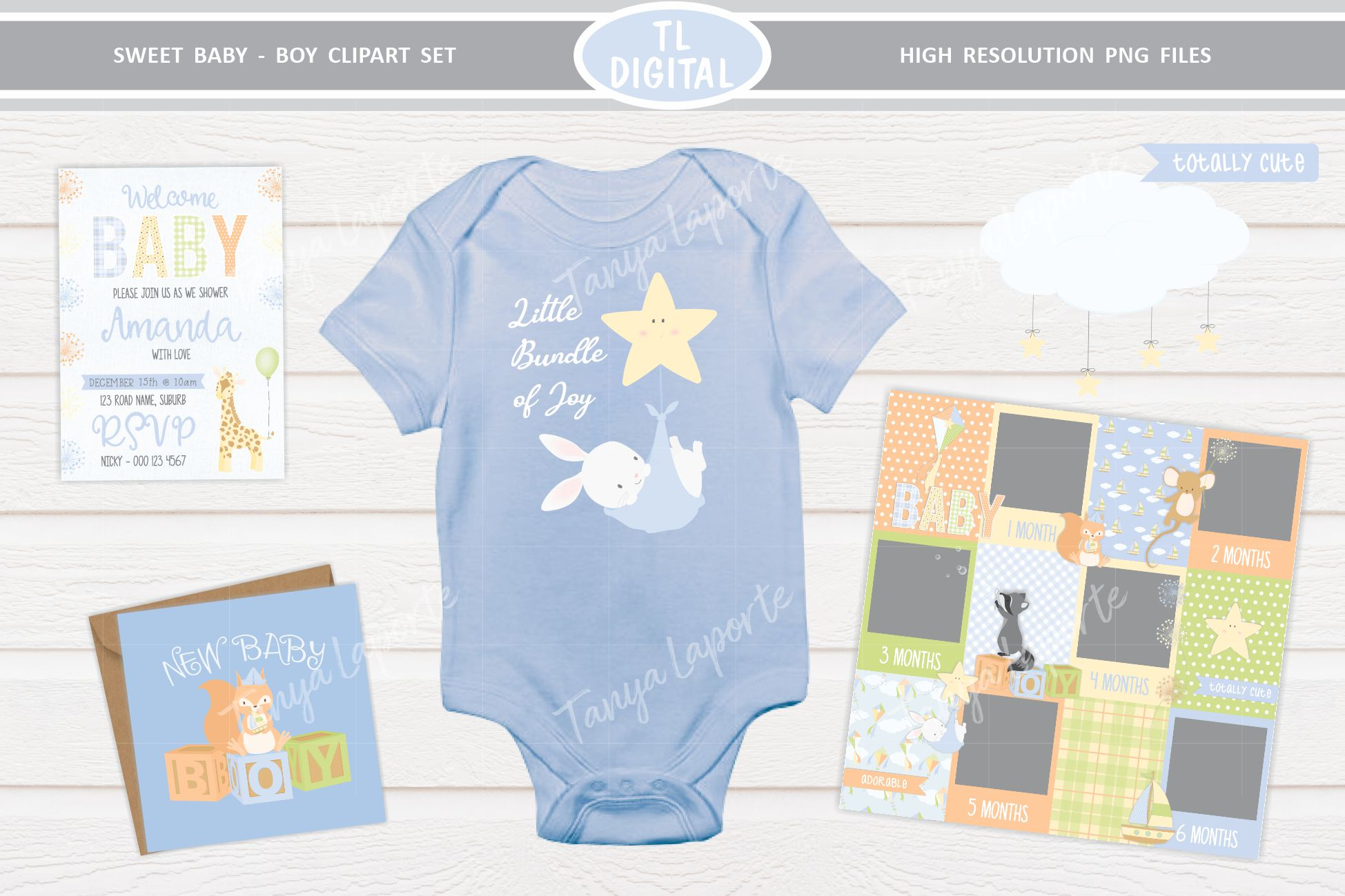 Sweet Baby Boy Clipart Set - 25 Baby themed Graphics example image 4