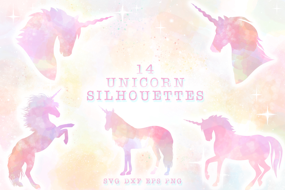 Unicorn Silhouettes SVG Cut Files Pack example image 1