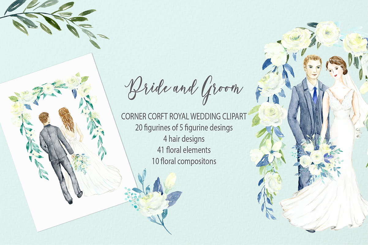Bride and Groom Figurine Royal Wedding Clipart example image 5