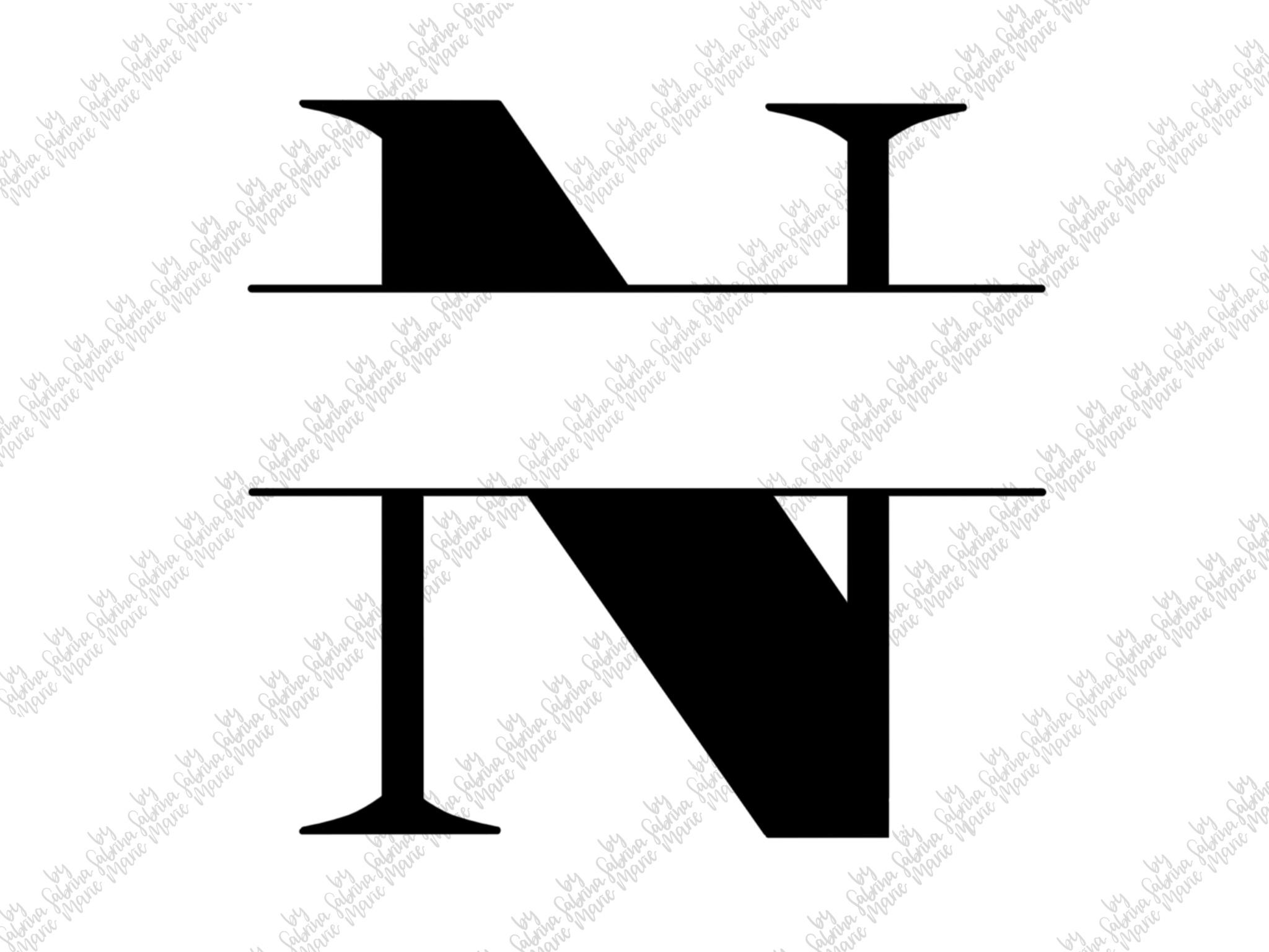 Split Monogram N - Handdrawn - SVG/PNG example image 2