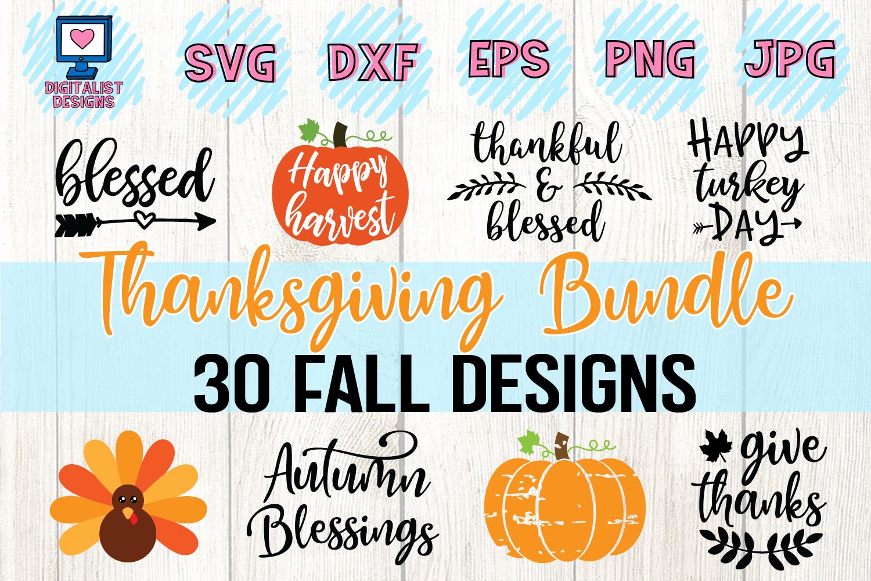 Thanksgiving SVG Bundle | 30 Designs example image 1
