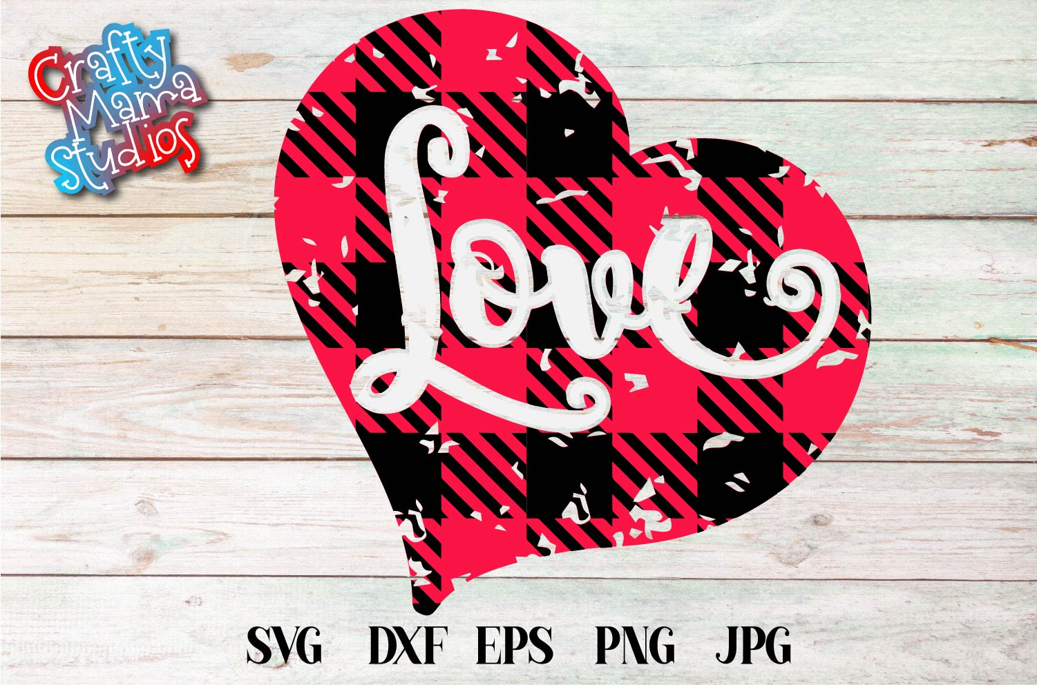 Valentine's Day SVG Love Buffalo Plaid Heart Sublimation example image 2