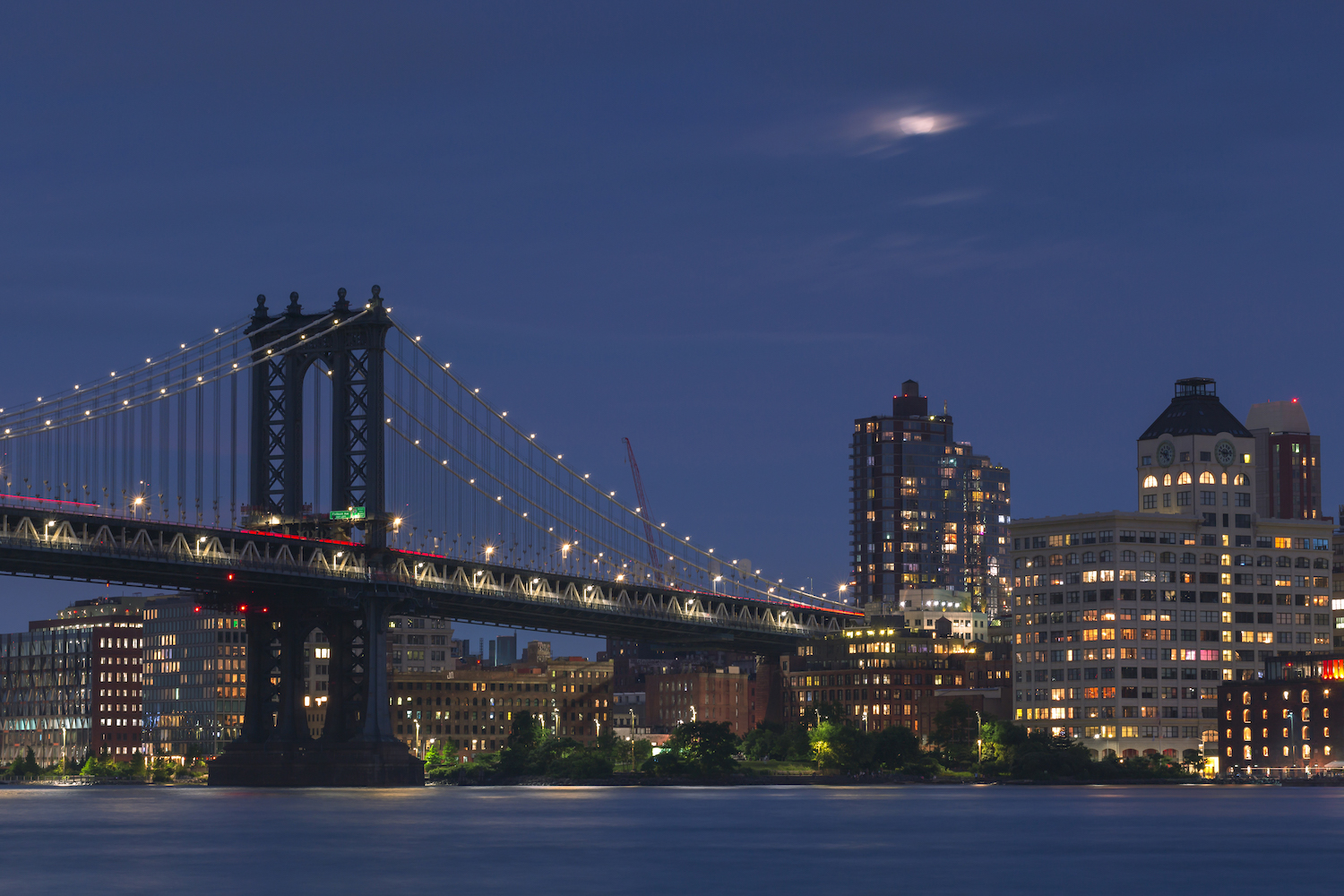 Manhattan Bridge and Dumbo from East River with full moon example image 1