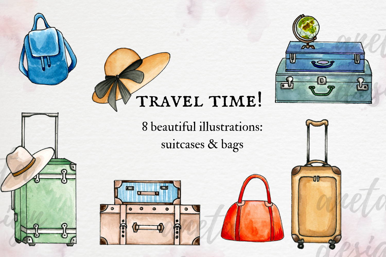 Watercolor Travel Clip Art, Watercolor Suitcases and Bags example image 1
