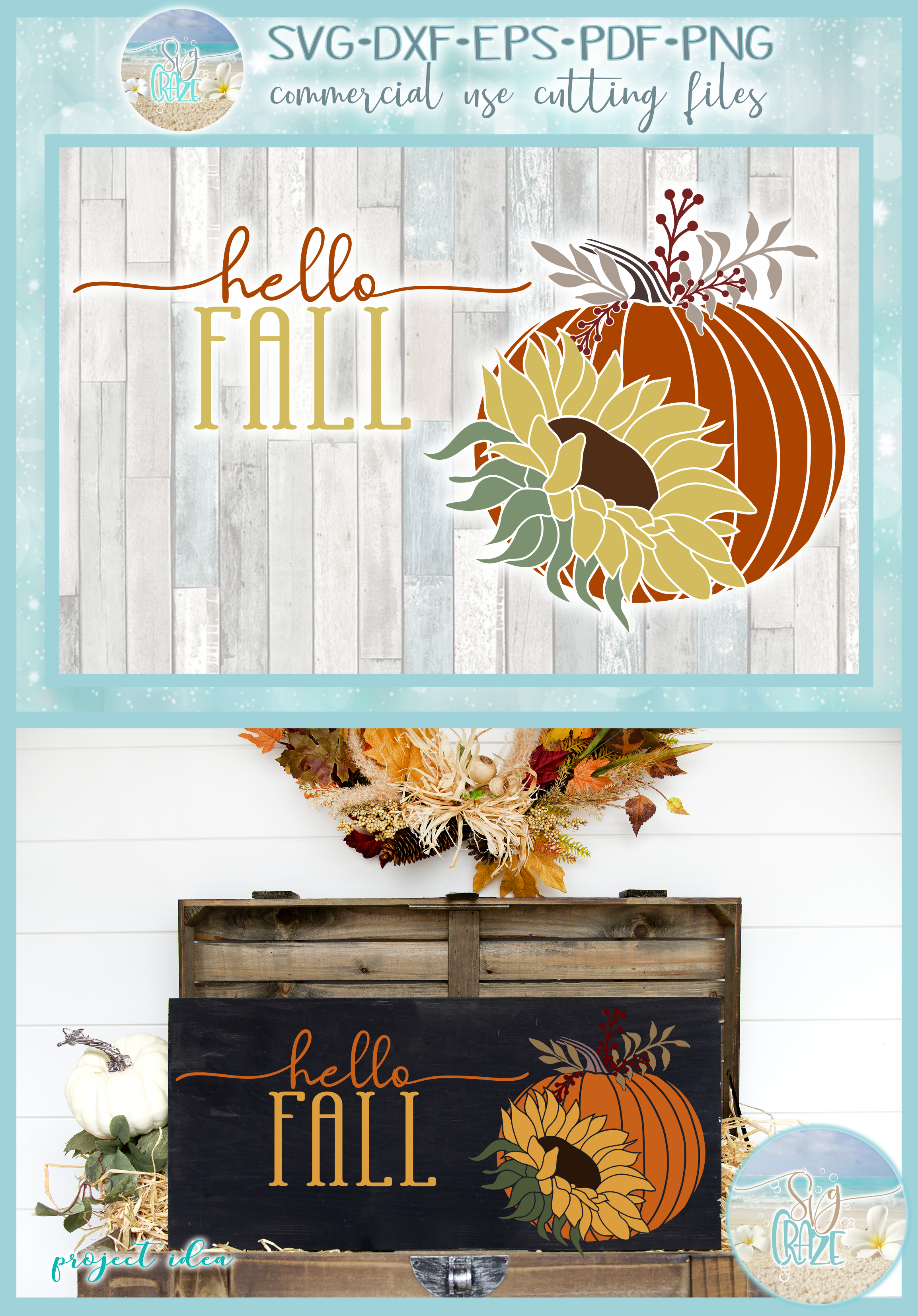 Hello Fall Quote With Pumpkin and Sunflower SVG example image 4