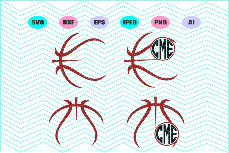 Basketball outline Svg Dxf Eps Png Jpg Ai Cut Vector Vinyl example image 1