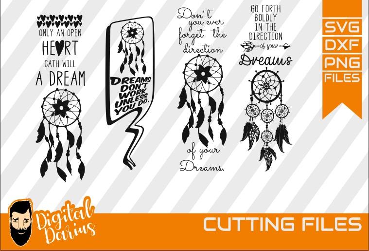 4x Dreamcatcher svg, Feather svg, Dreams svg, Heart svg example image 1