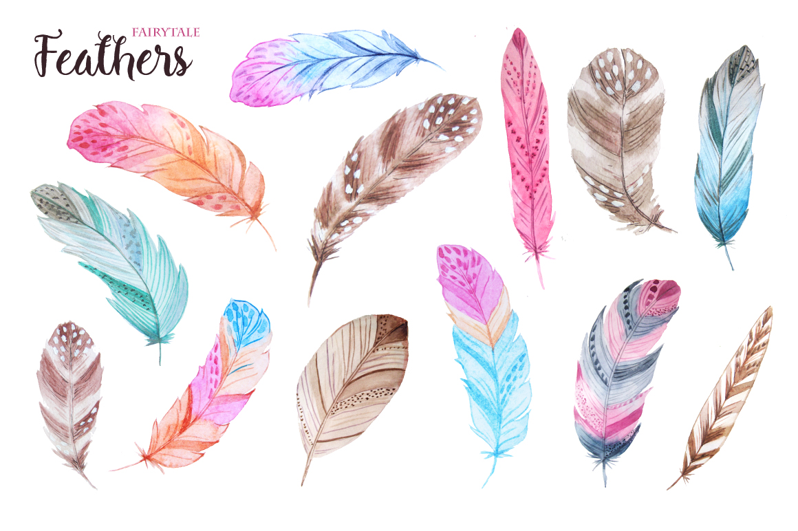 Watercolor Fairytale Feathers Set example image 3