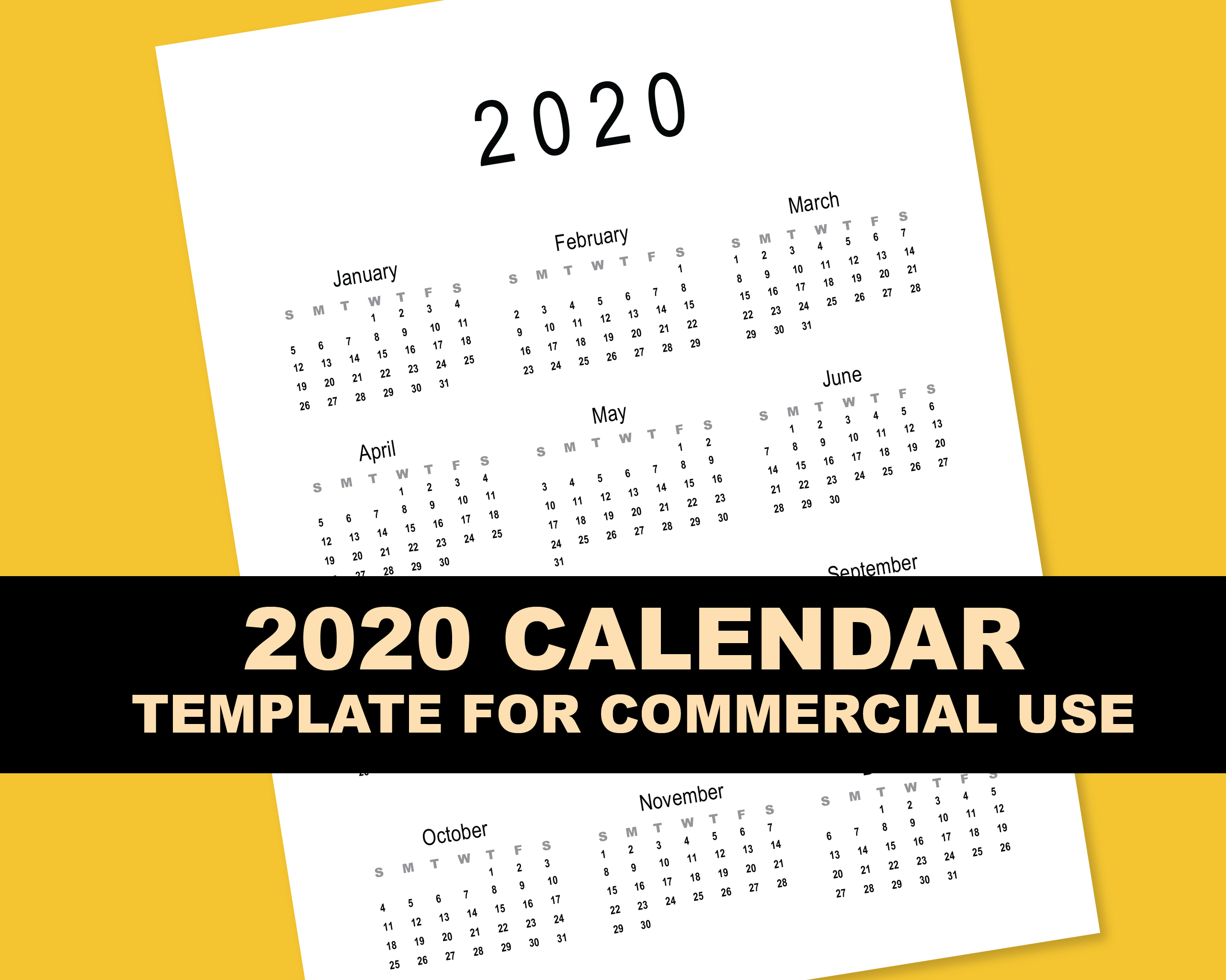 2020 Calendar Template for Commercial Use - PSD, EPS, PDF example image 8