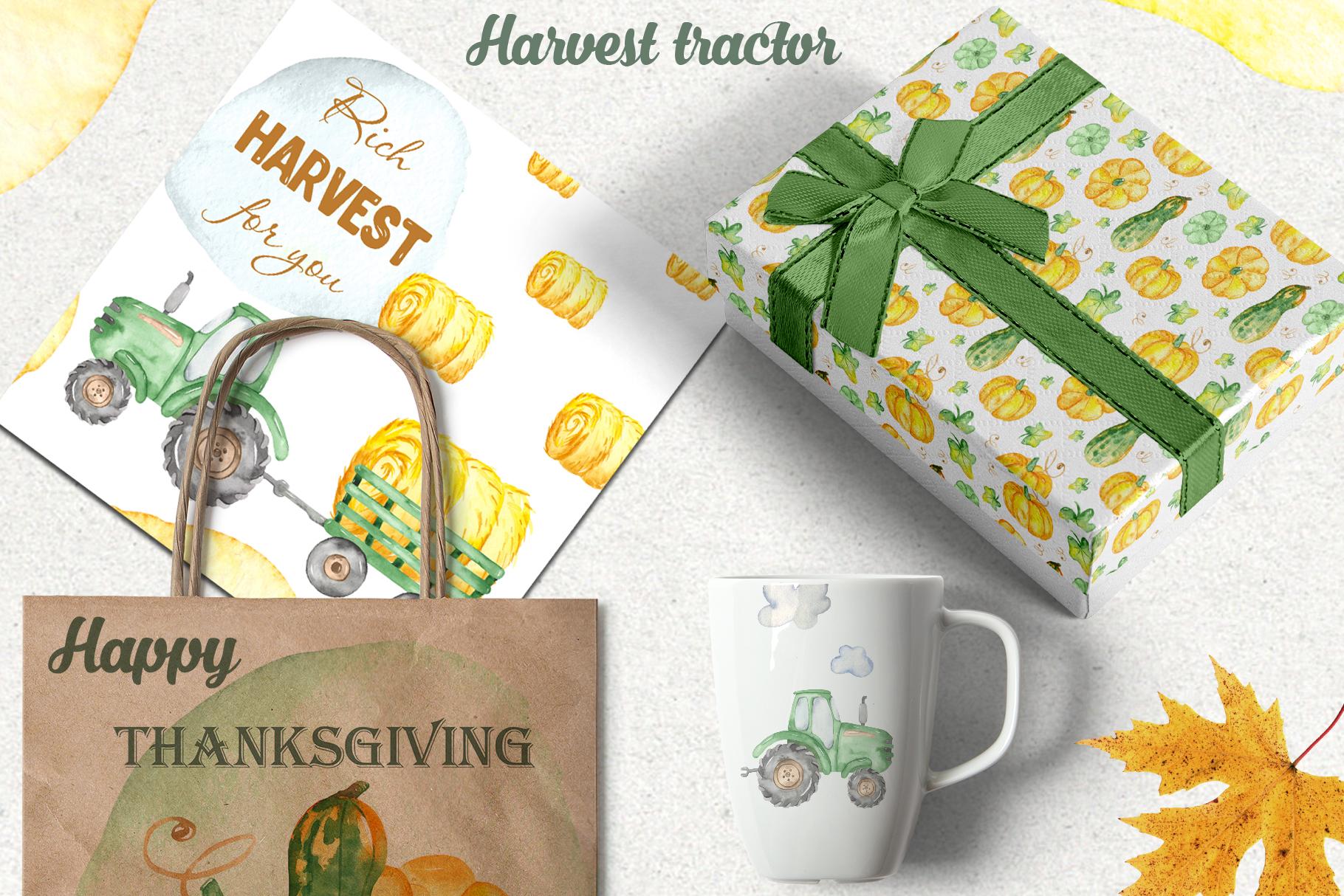 Tractor, harvesting, hay, pumpkin, farm. Watercolor clipart example image 9