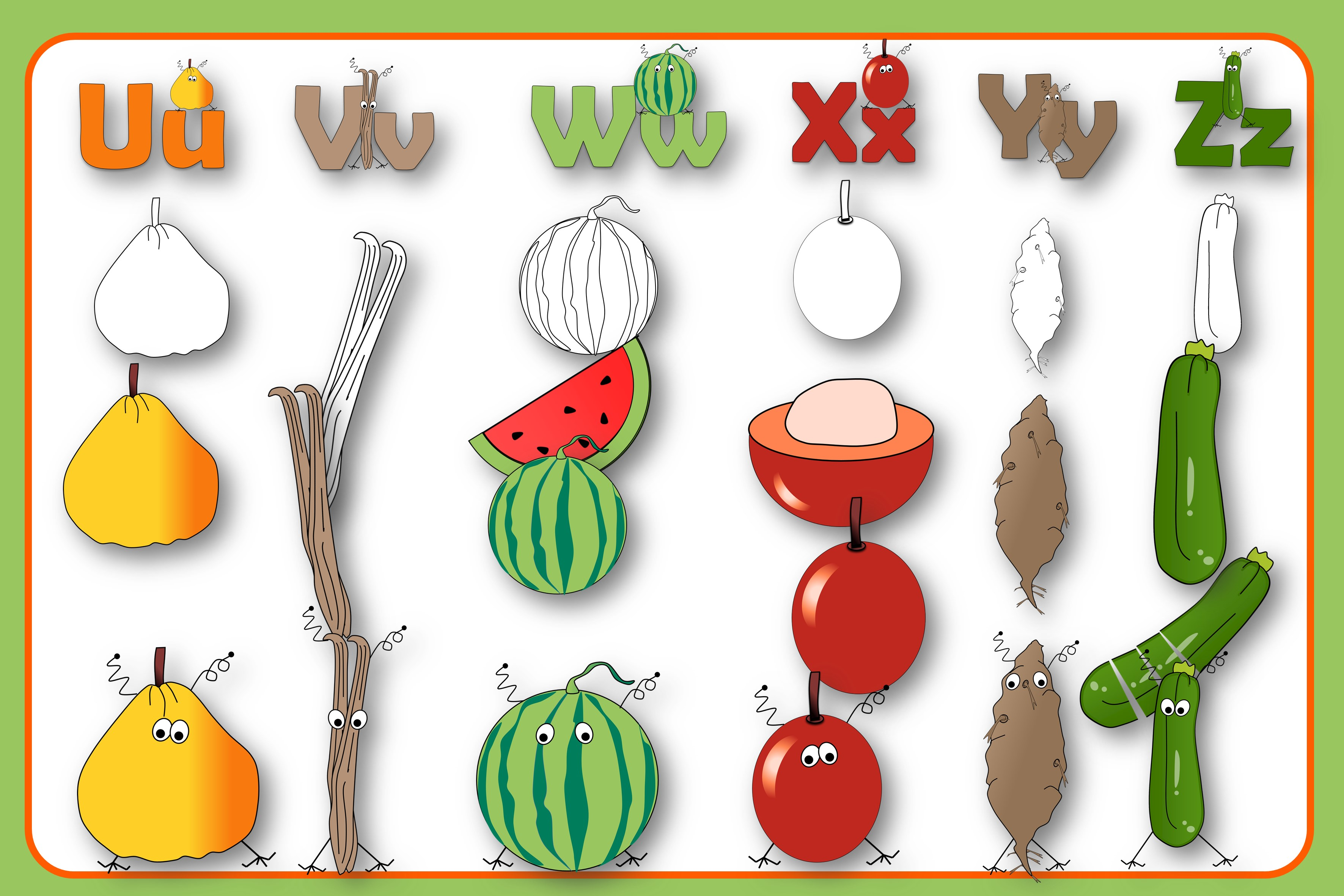 Alphabet of Fruits and Vegetables with Monsters example image 6