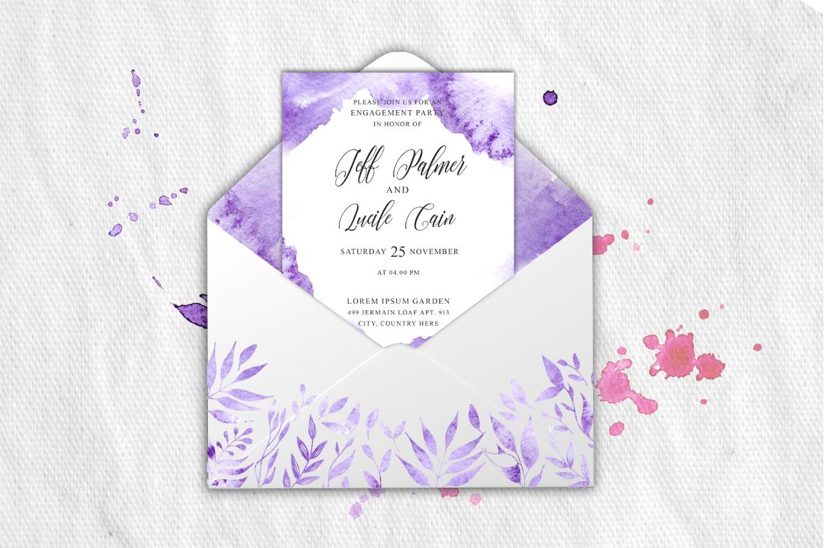 Gentle purple Watercolor Spring Wedding Invitation suite example image 3