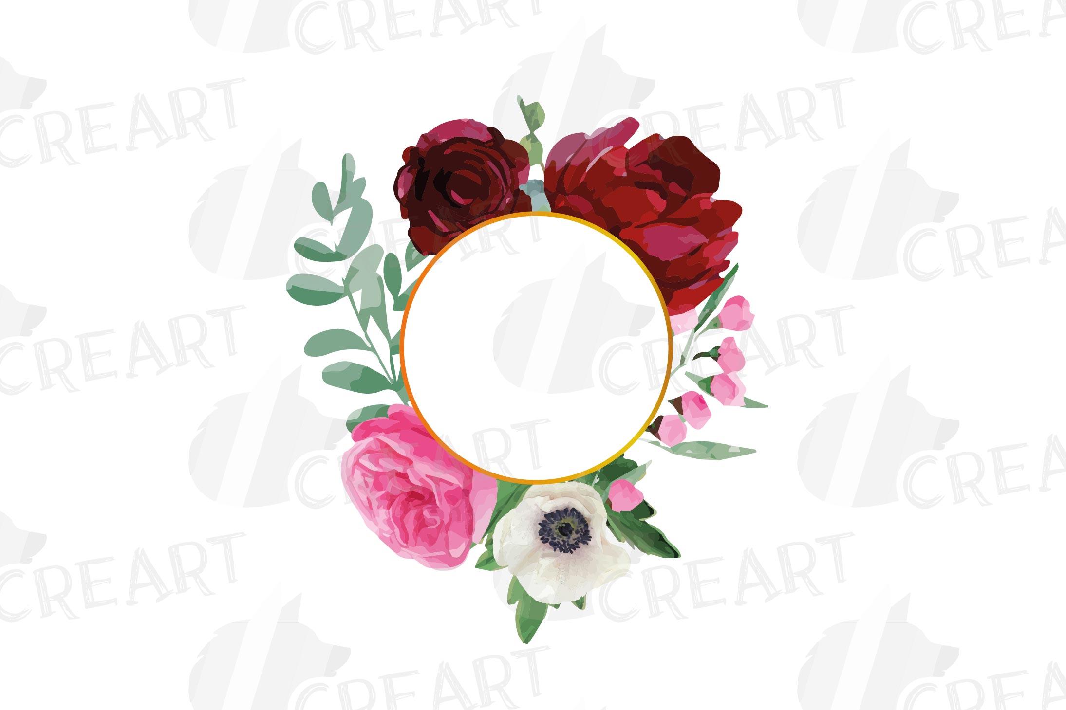 Watercolor elegant floral borders, rose, anemone frames example image 22