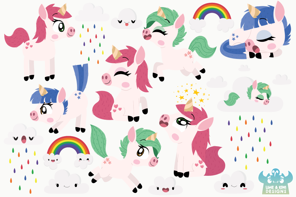 Fantasy Unicorns Clipart, Instant Download Vector Art example image 2