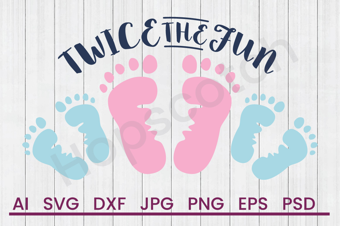 Footprints SVG, Twice The Fun SVG, DXF File, Cuttatable File example image 1