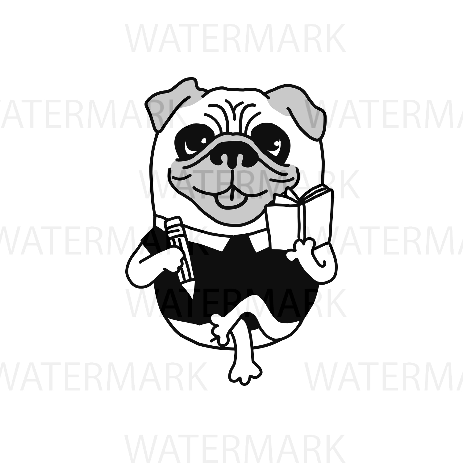 Pug Dog Writer Authoring a book very cute - SVG/JPG/PNG Hand Drawing example image 1