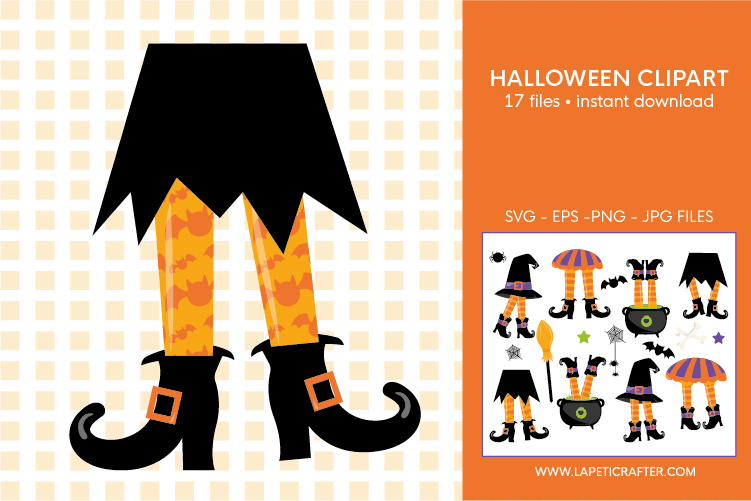 Halloween witch legs clipart, wicked witch party decorations example image 3
