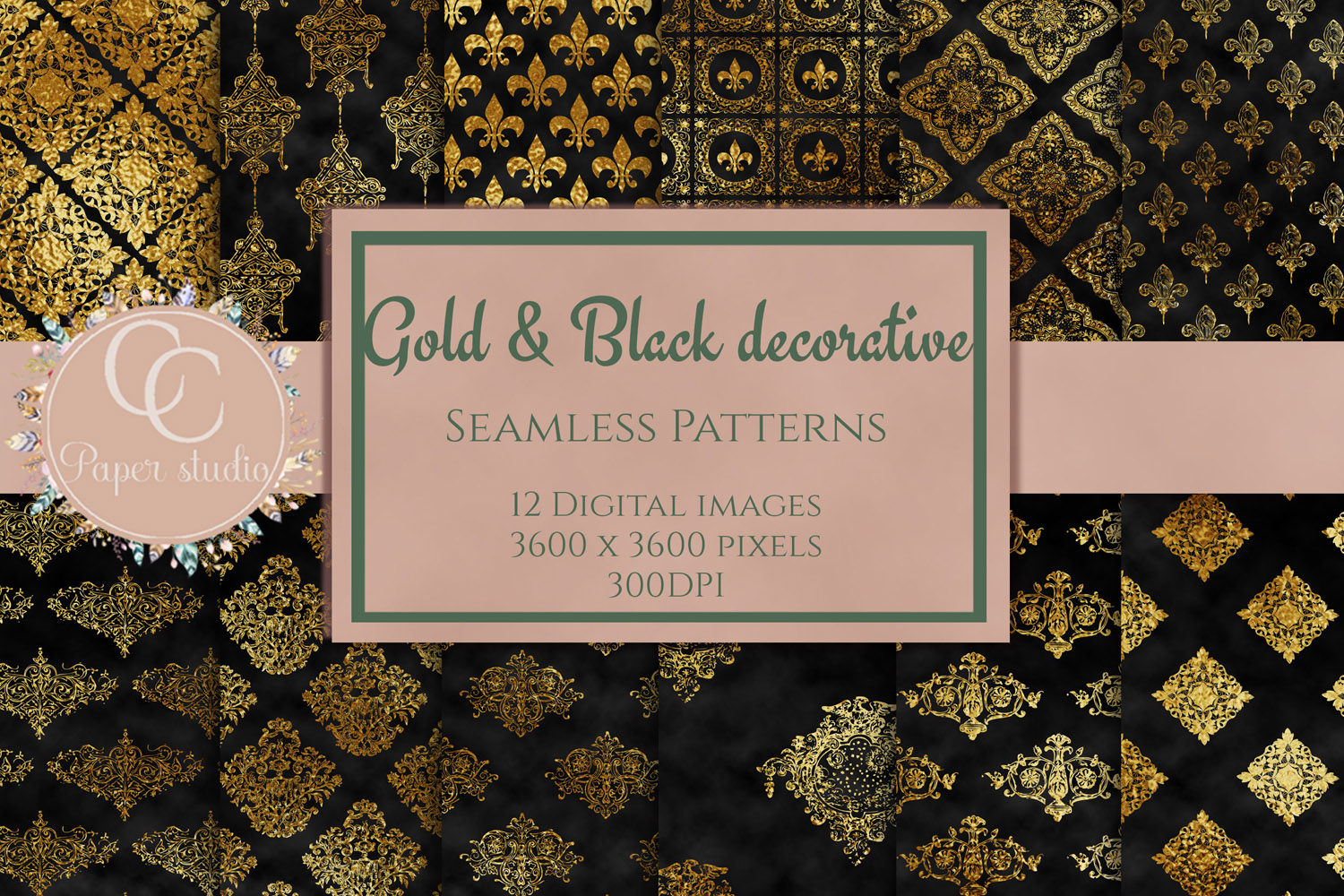 Gold and black damask digital paper example image 1