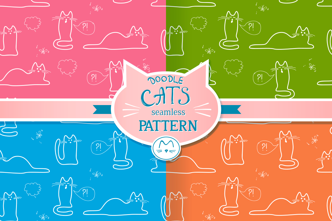Seamless patterns with doodle cats example image 1