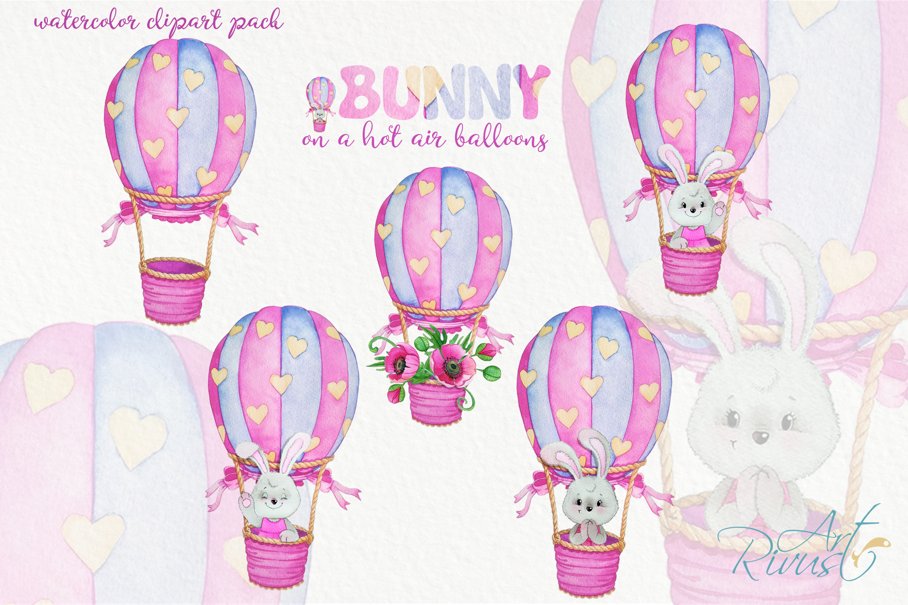 Clipart set watercolor bears with seagull hot air balloons example image 3