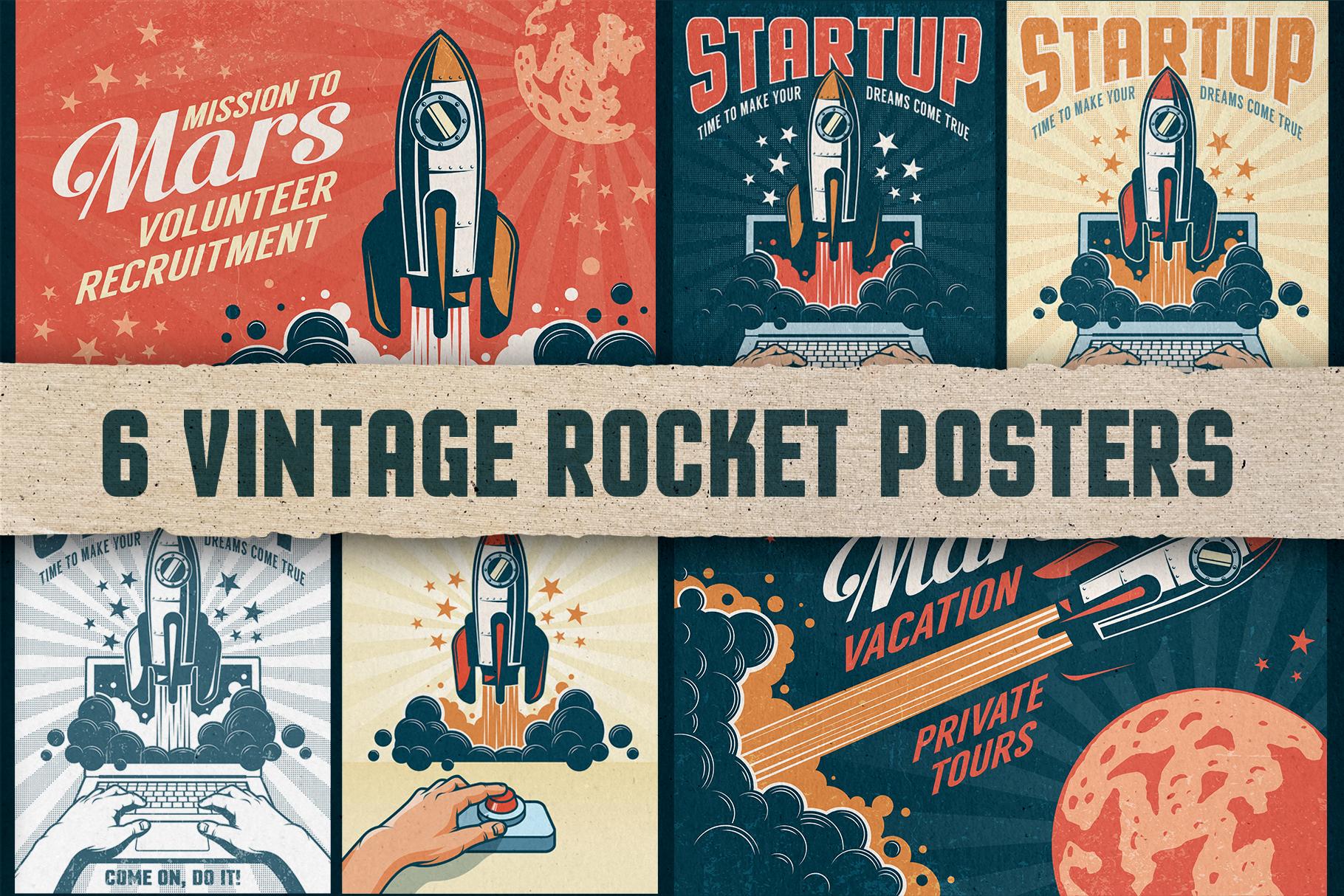 6 Vintage Rocket Posters example image 1