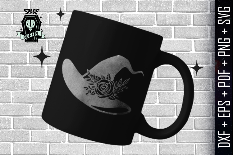 Witch Floral Hat Silhouette Vector DXF/EPS/PDF/PNG/SVG example image 2