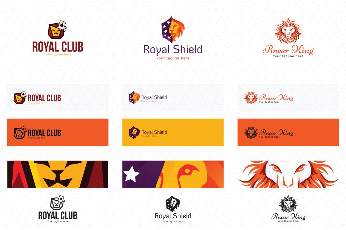 Lion Jaguar Tiger Animal Logo Templates Pack of 10 example image 2