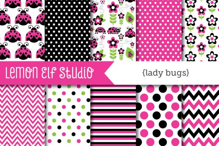 Lady Bugs-Digital Paper (LES.DP09B) example image 1