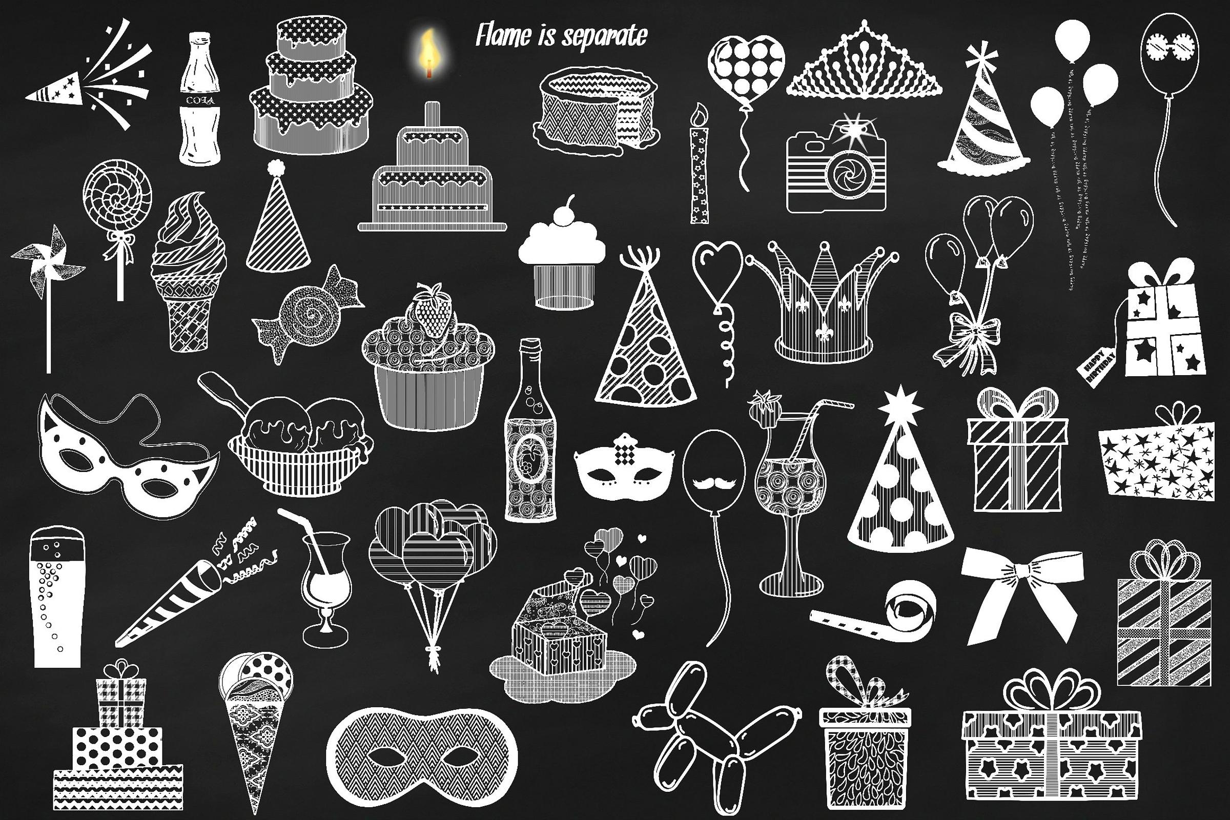 Chalk Birthday Mega Bundle Clip Art example image 2