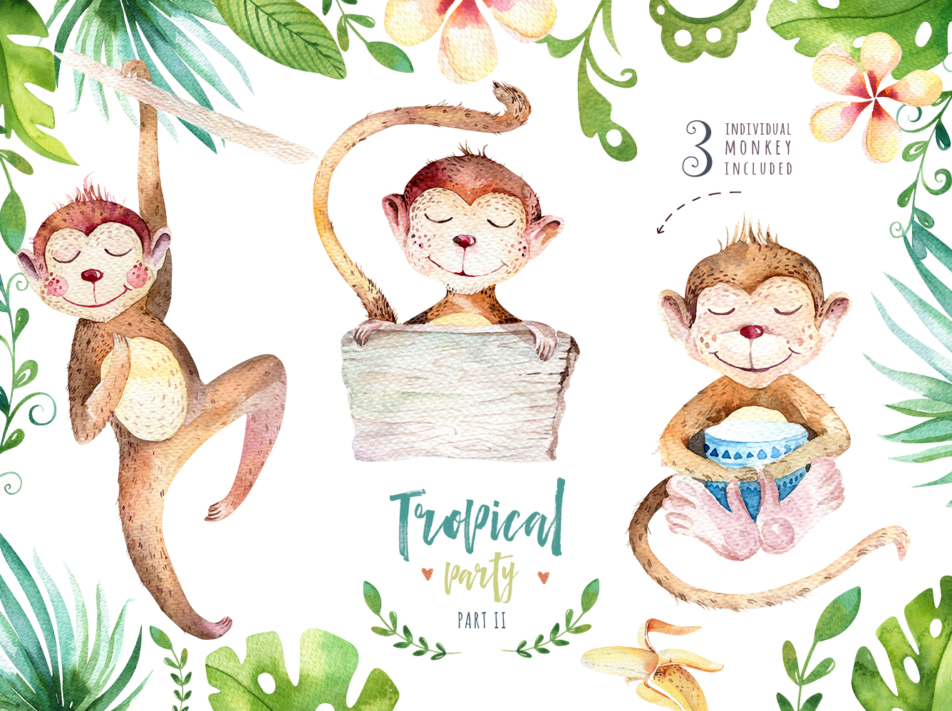 Tropical party II. Monkey collection example image 3