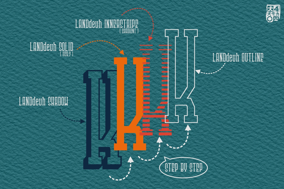 LANDdeuh Layered font Family example image 2