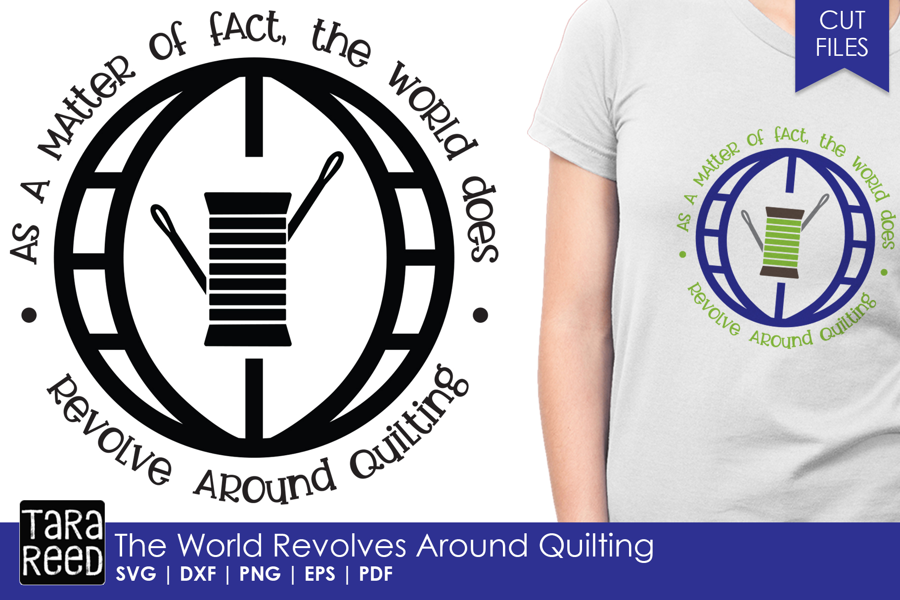The World Revolves Around Quilting - SVG and Cut Files example image 1