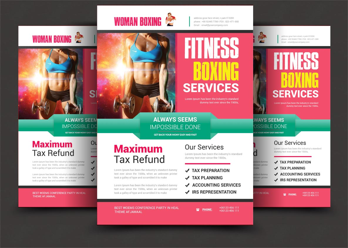 Woman Boxing Flyer example image 2