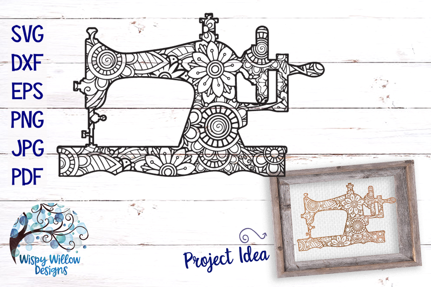 Sewing Machine Zentangle SVG example image 1