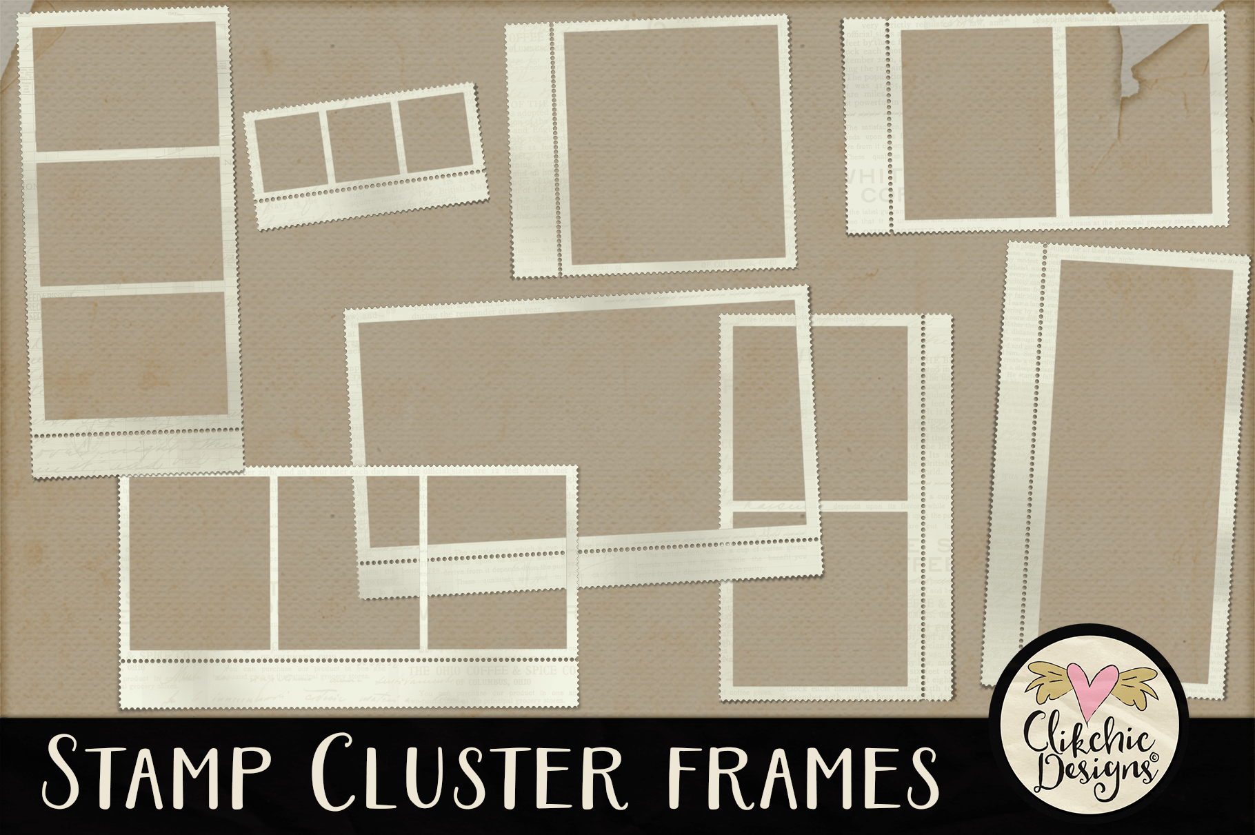 Stamp Frames - Stamp Cluster Frames Clipart example image 1
