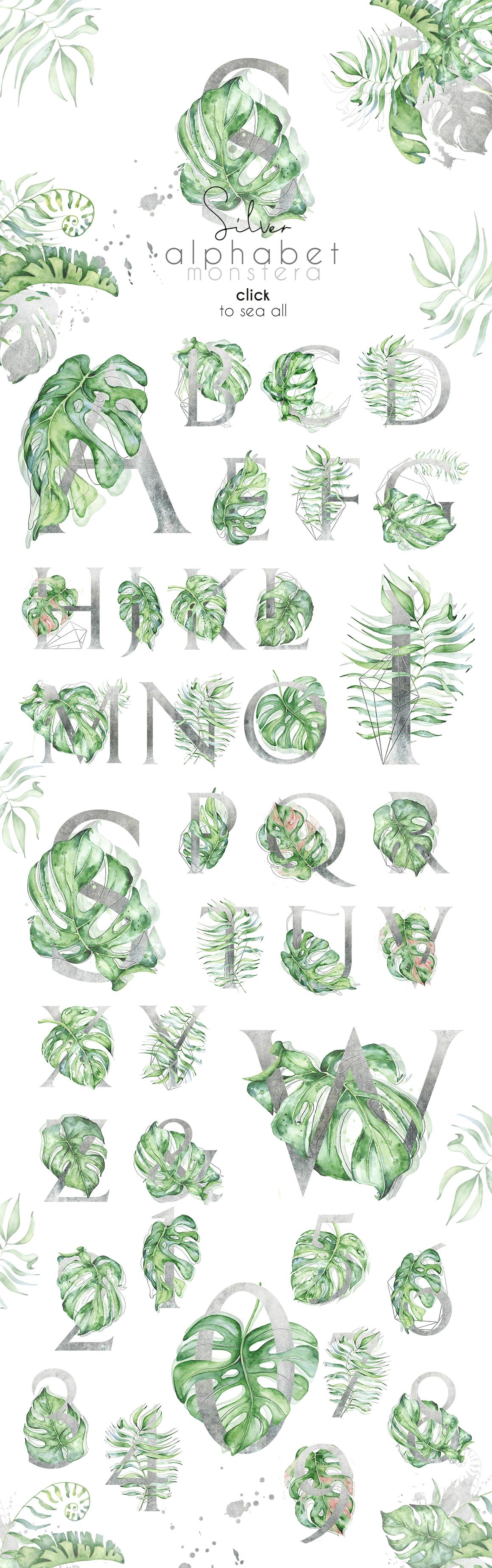 Silver Monstera - tropical alphabet example image 7