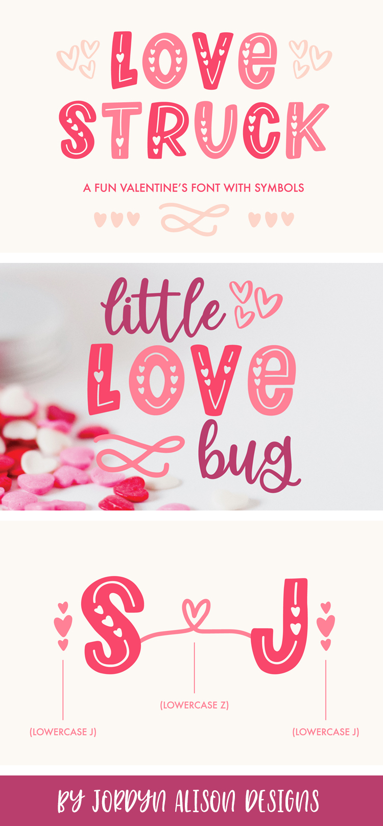 Love Struck, Thick Valentine's Heart Font example image 9