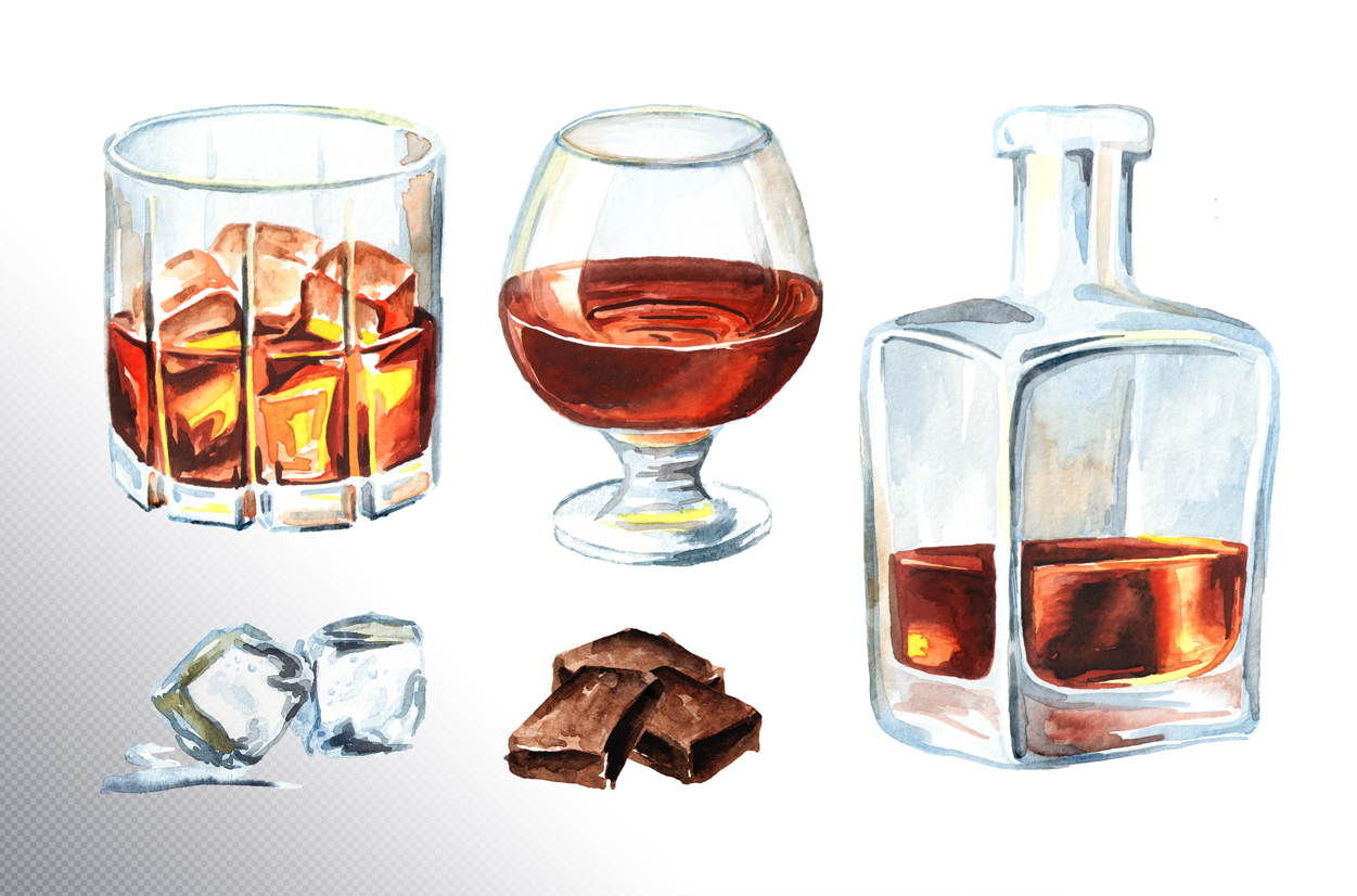 Whiskey.Watercolor collection example image 2