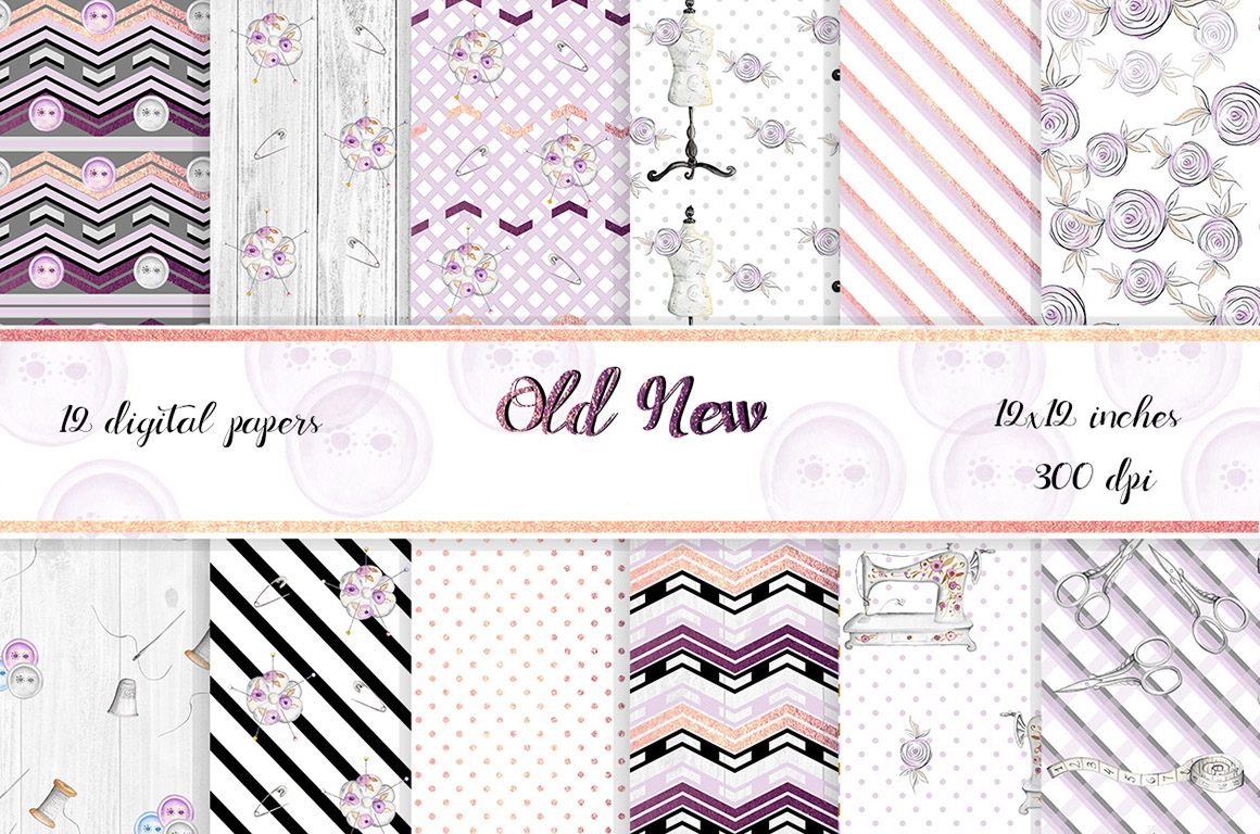 Vintage style Sewing Digital Papers. 12 papers with gold foil elements. example image 1