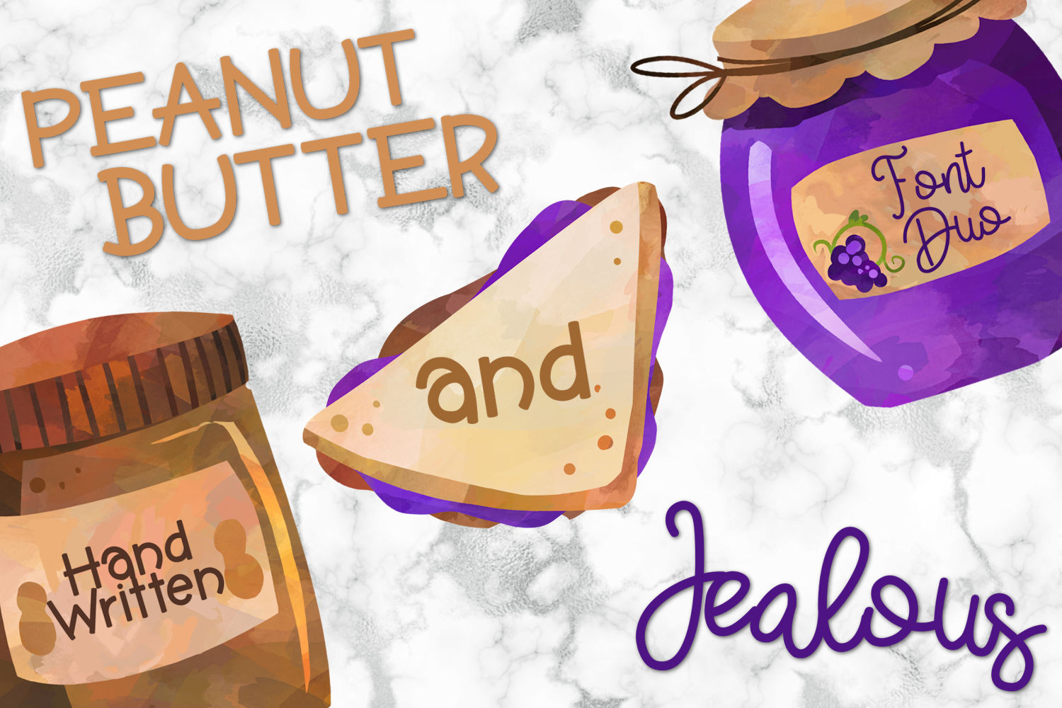 Peanut Butter And Jealous A Handwritten Font Duo example image 1