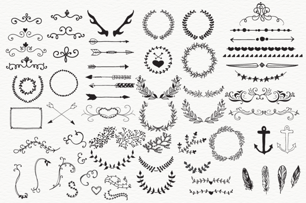100 HandSketched Vector Elements example image 2