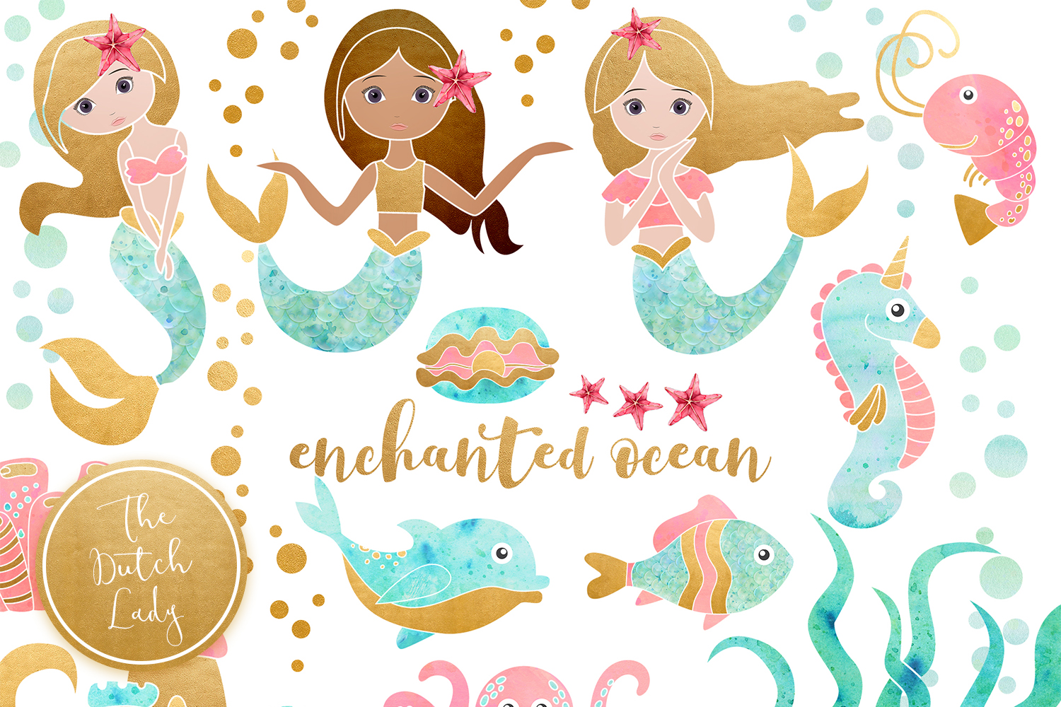 Enchanted Mermaid Ocean Clipart Set example image 1