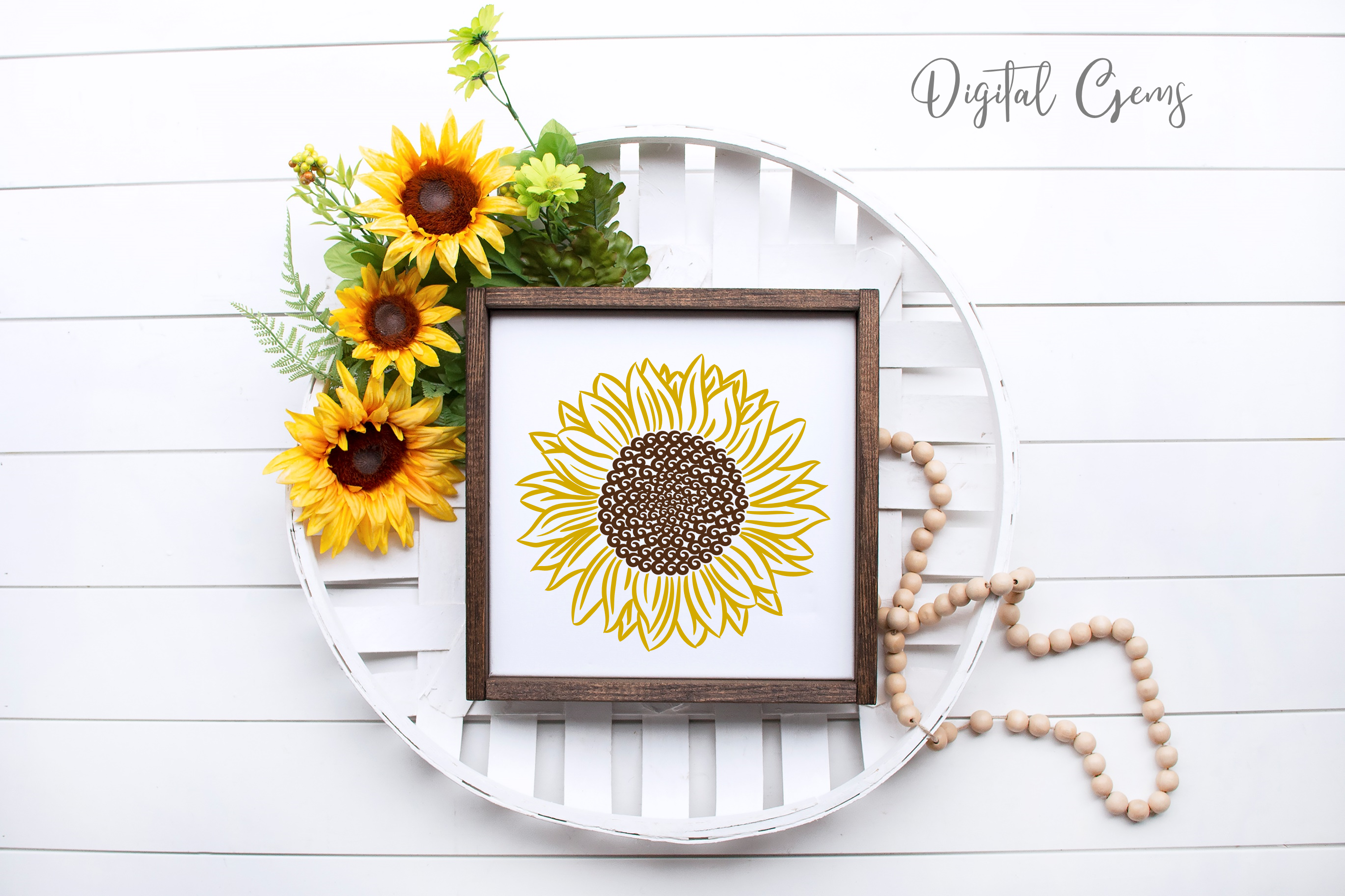 Sunflower designs SVG / PNG / EPS / DXF Files example image 2
