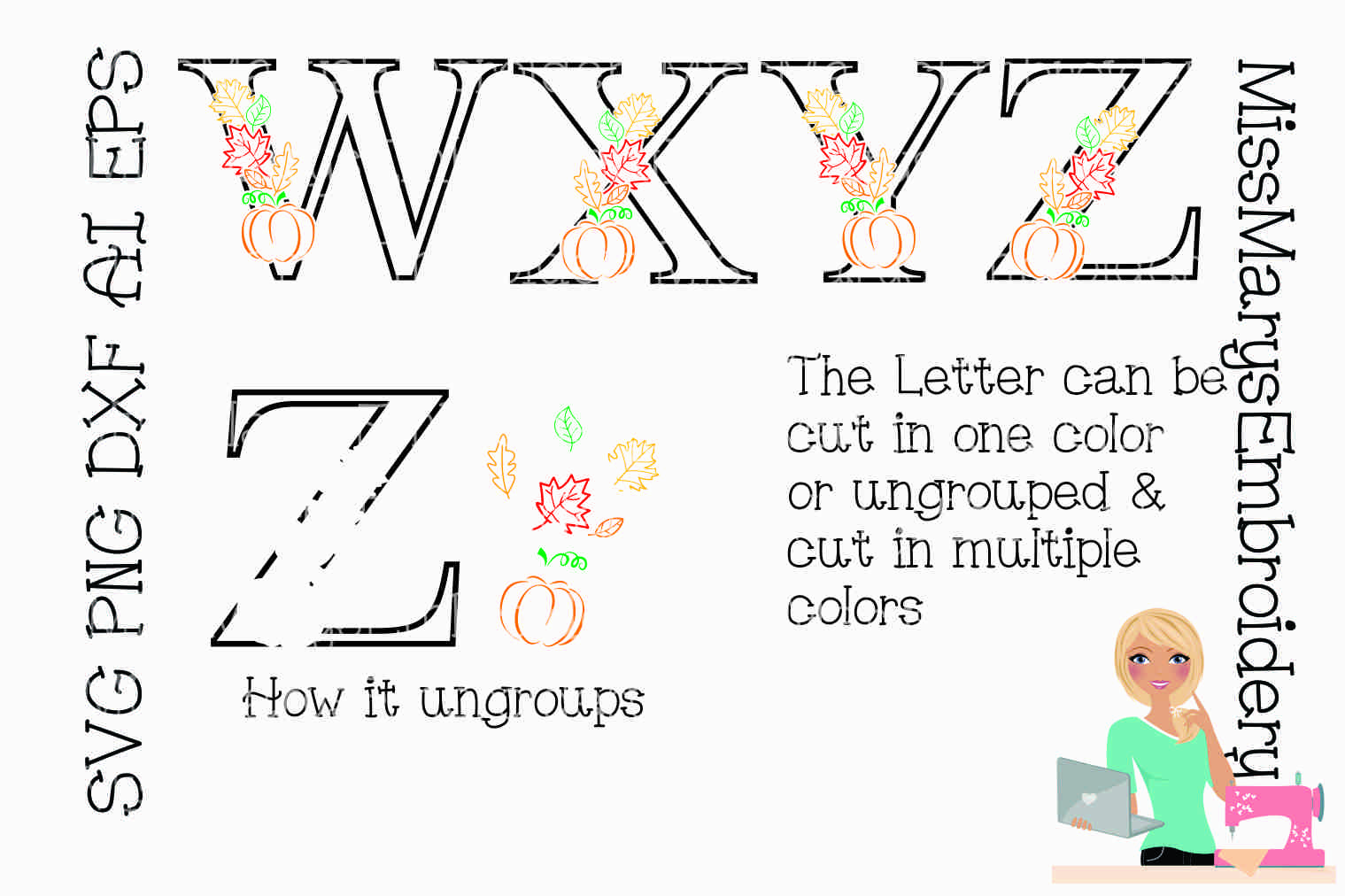 Fall Pumpkin Leaf Letters SVG Cutting File PNG DXF AI EPS example image 3