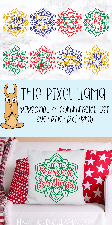 Christmas Mandala Bundle of 8 SVGs example image 2