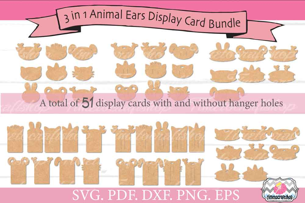 3 in 1 Animal Ears Bow Clip Headband Display Card Bundle example image 1
