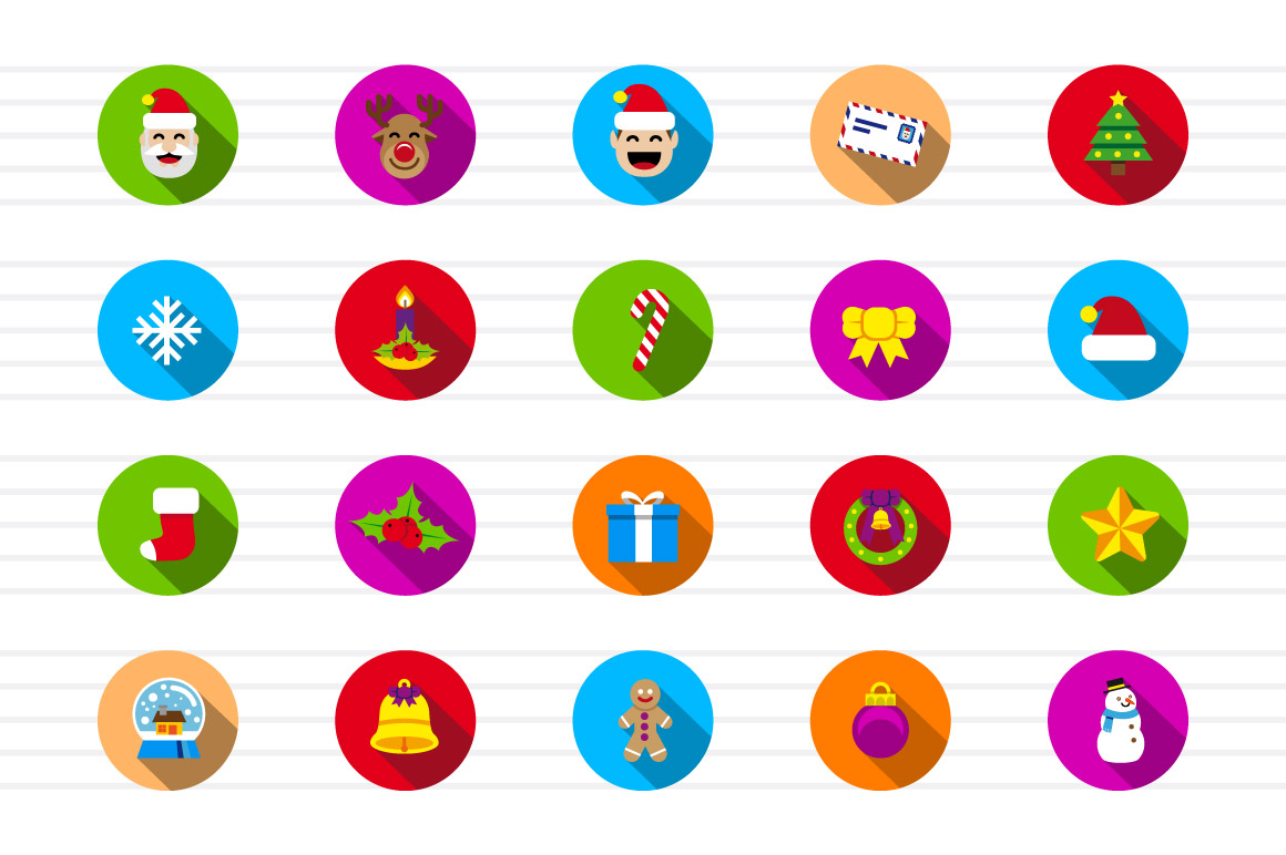 Christmas Circle Color Icons example image 2