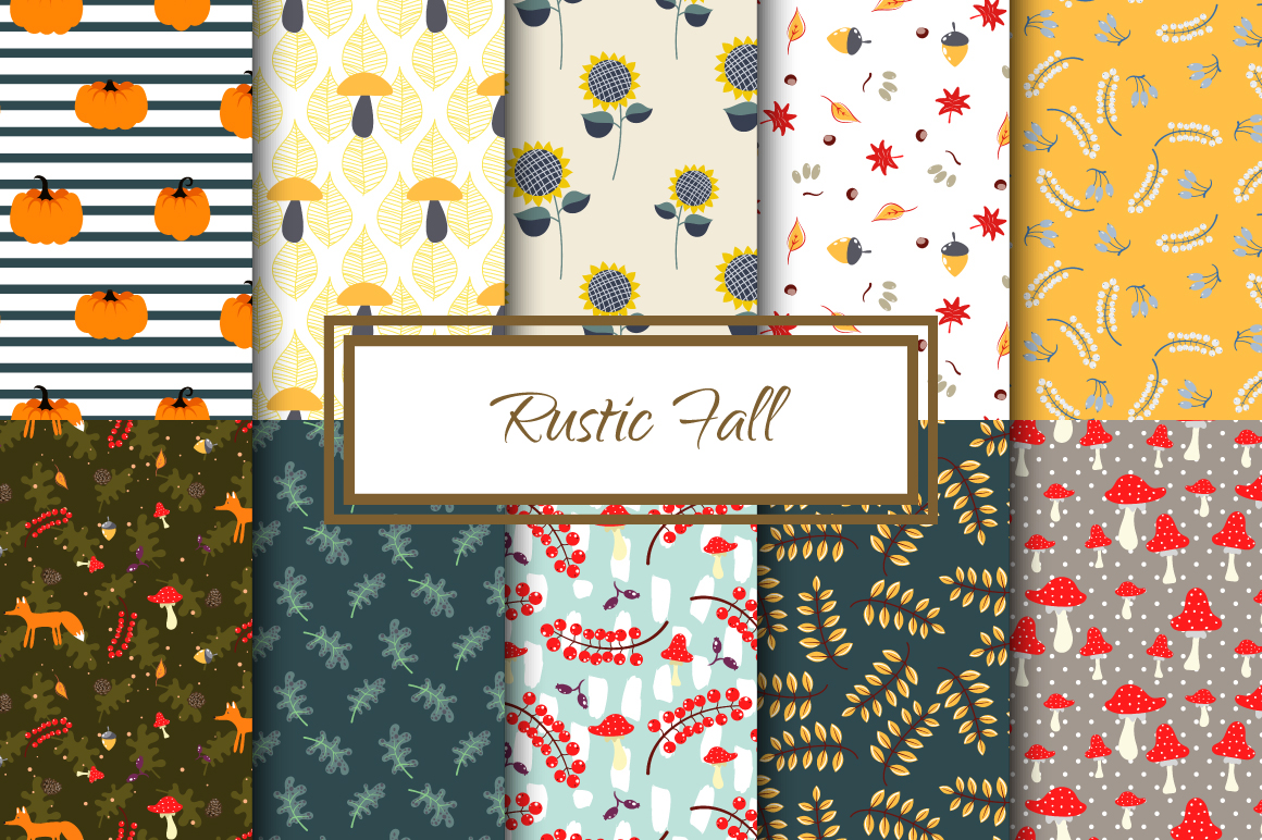 Rustic Fall Seamless Patterns example image 1