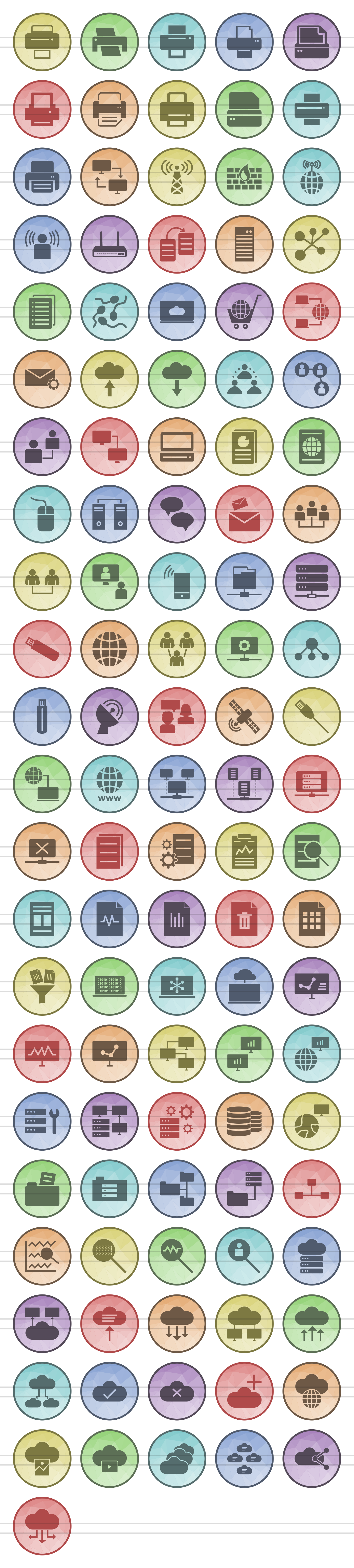 111 Networking & Printers Filled Low Poly Icons example image 2